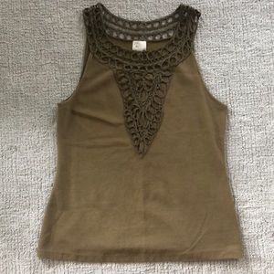Anthropologie olive green embroidered tank top M